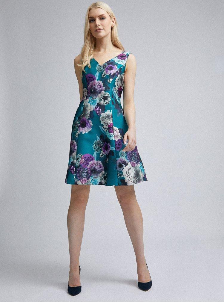 Petrolejové kvetované šaty Dorothy Perkins