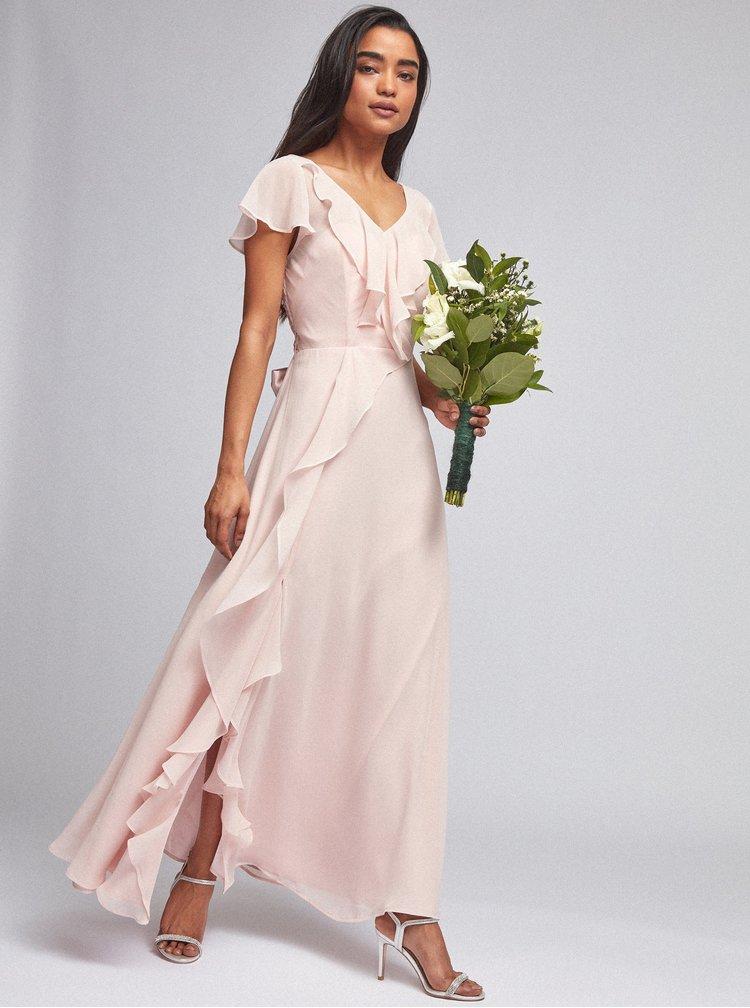 Světle růžové maxi šaty Dorothy Perkins Petite