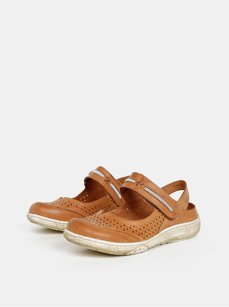 Hnědé dámské kožené sandály WILD