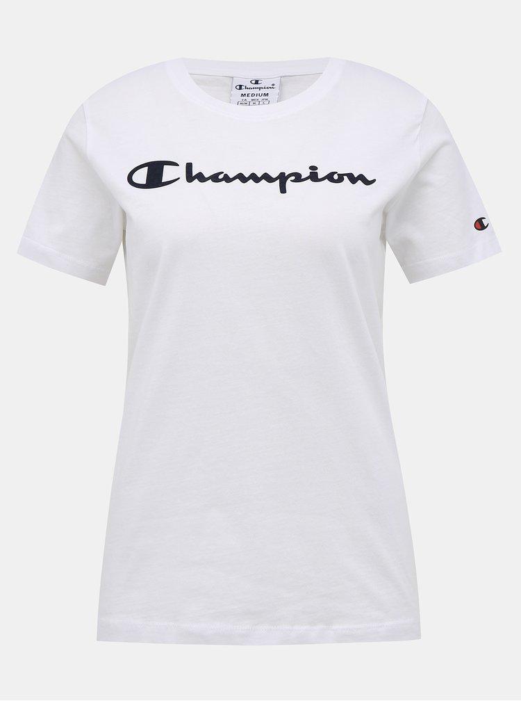 Bílé dámské regular fit tričko s potiskem Champion
