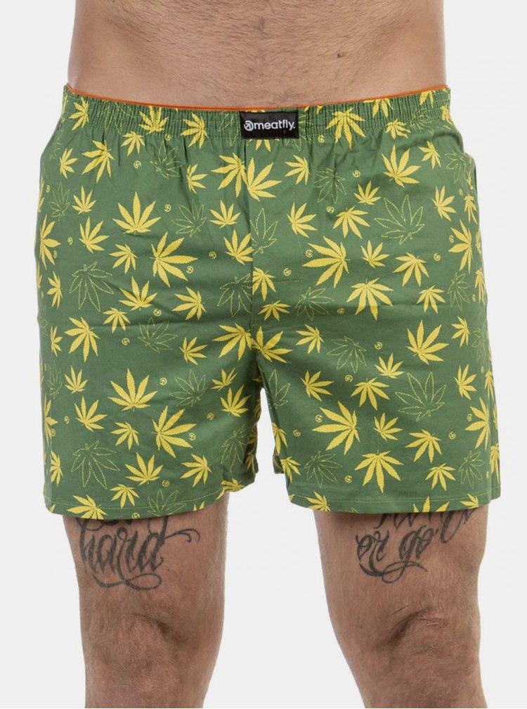 Sada dvou pánských vzorovaných boxerek v zelené a černé barvě Meatfly Agostino