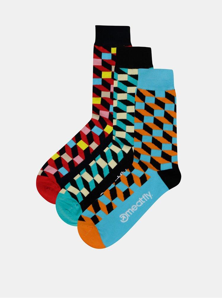 Sada tří párů vzorovaných ponožek v modré, zelené a červené barvě Meatfly Checkers