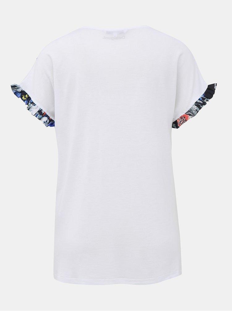 Bílé tričko s potiskem Desigual Munich