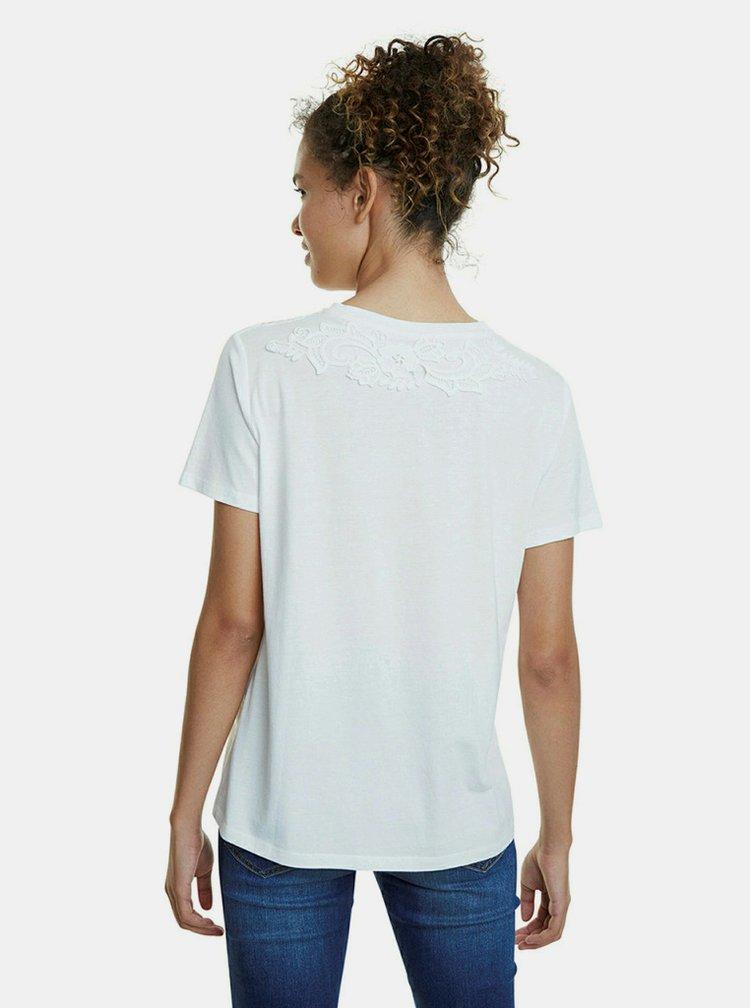 Bílé tričko s krajkou a výšivkou Desigual Tropic Thoughts