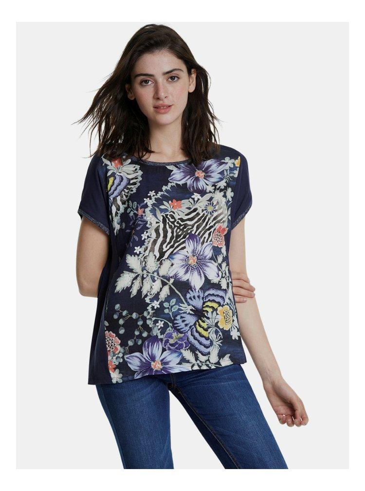Tmavě modré květované tričko Desigual Edimburgo