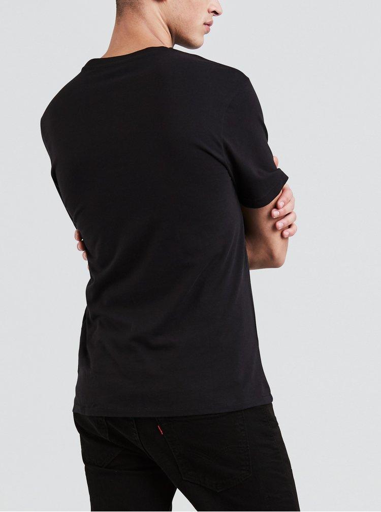 Tricou barbatesc negru cu imprimeu Levi's®