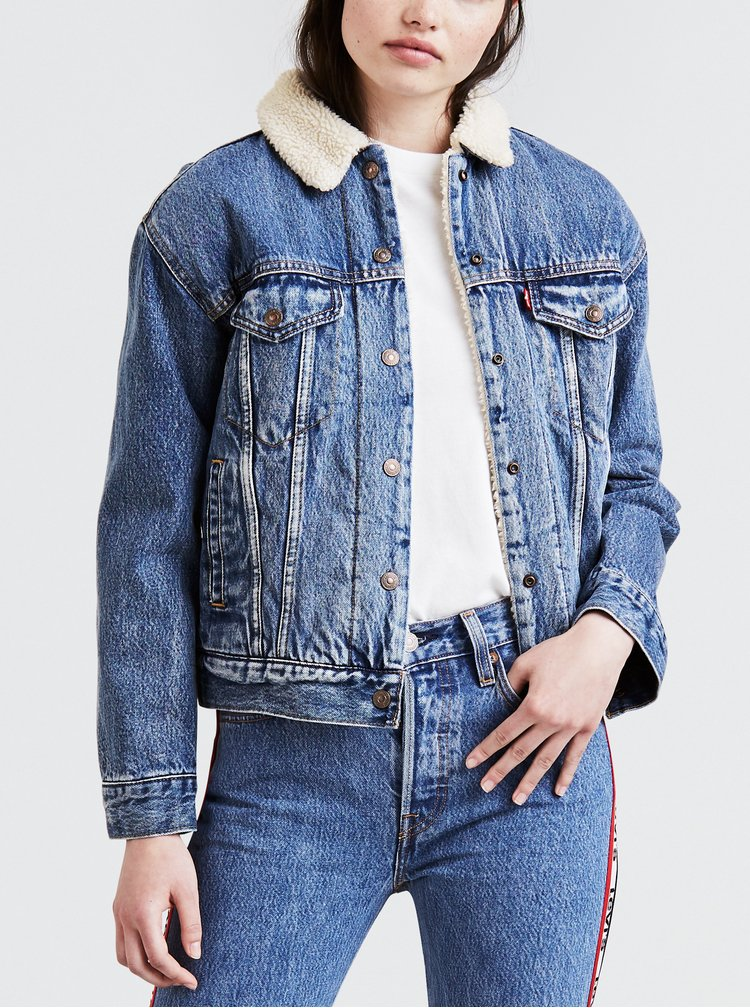 Modrá dámska rifľová bunda s vnútornou umelou kožušinkou Levi's® Trucker