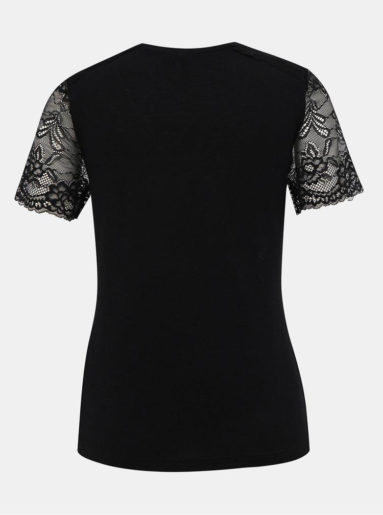 Čierne tričko s krajkou VERO MODA Honey
