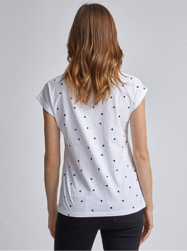 Bílé vzorované tričko Dorothy Perkins