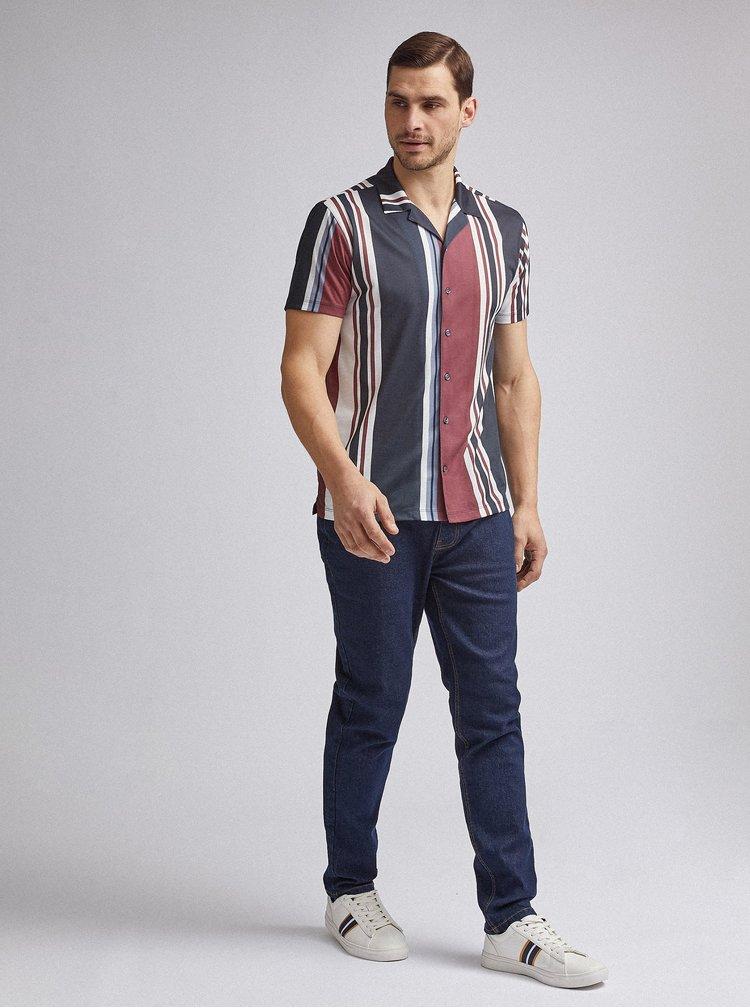 Vínovo-modrá pruhovaná košile Burton Menswear London