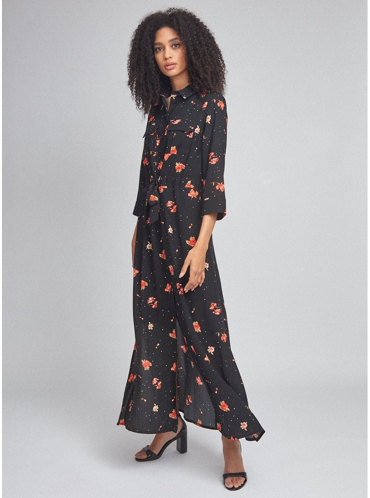 Černé květované košilové maxišaty Dorothy Perkins