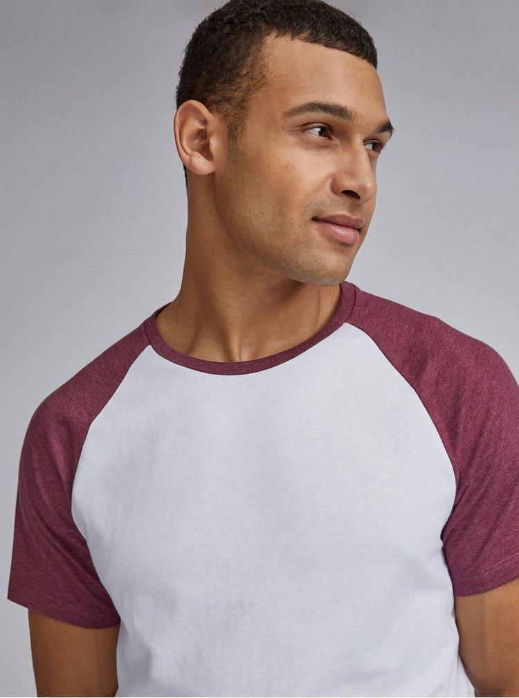 Vínovo-bílé basic tričko Burton Menswear London