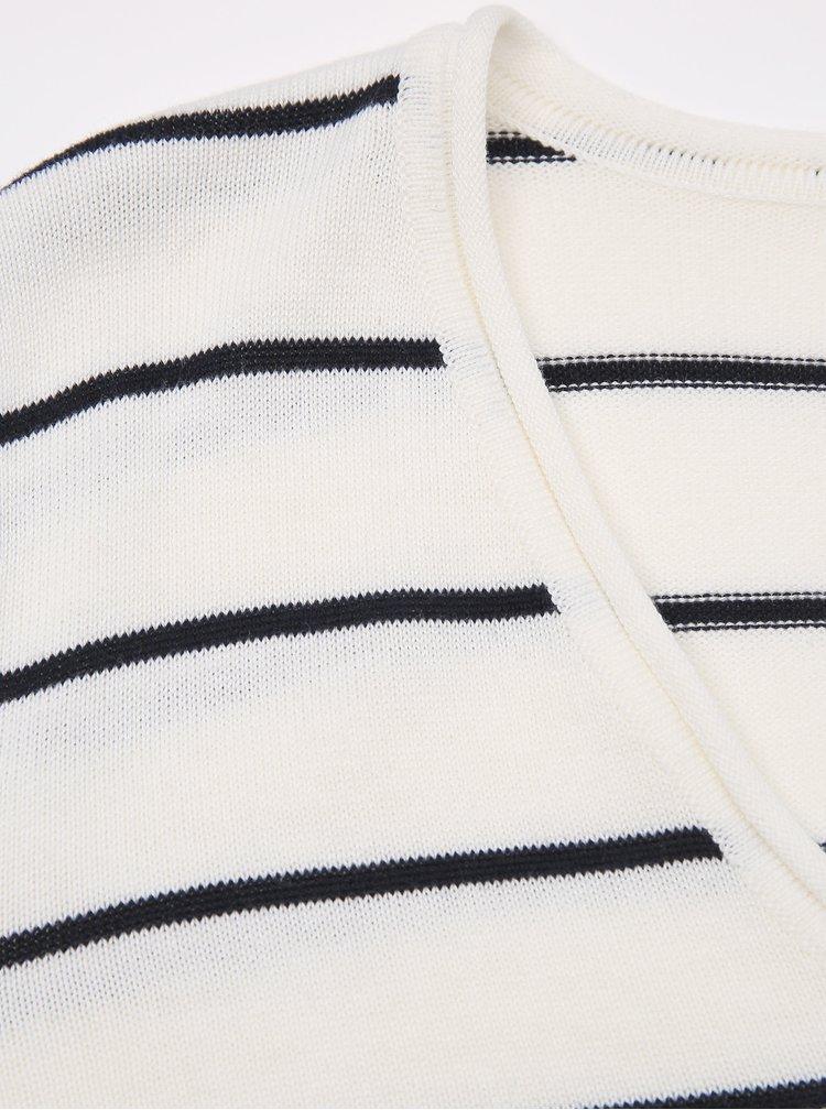 Bílý dámský pruhovaný basic svetr ZOOT Baseline Lea