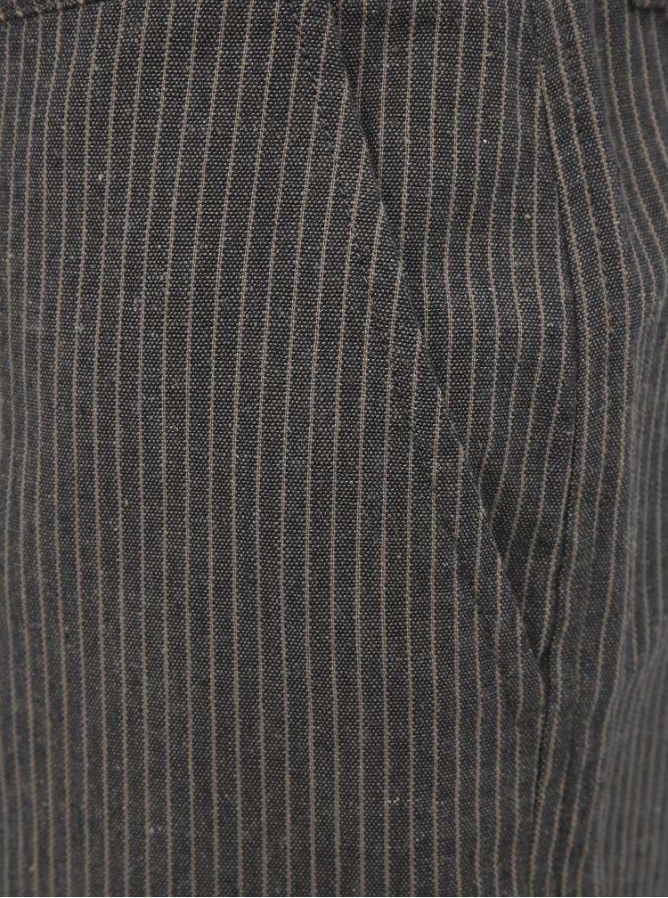 Béžové dámské pruhované kraťasy s příměsí lnu ZOOT Baseline Jade