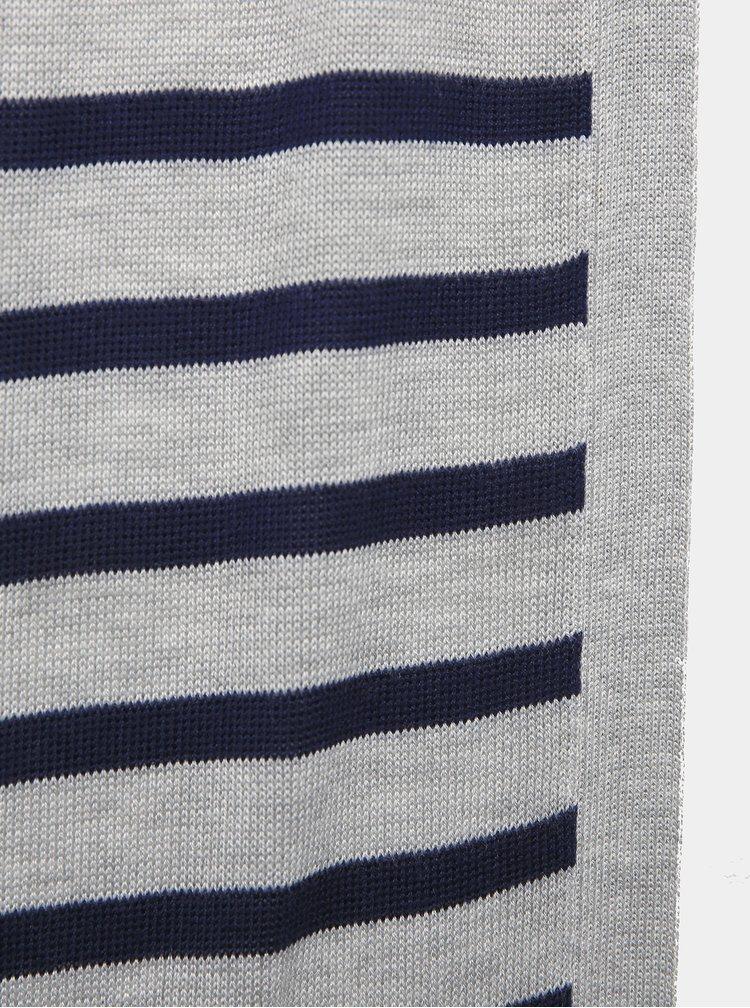 Modro-šedý dámský pruhovaný dlouhý basic kardigan ZOOT Baseline Sinda
