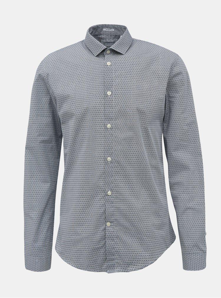 Bílo-modrá vzorovaná slim fit košile Lindbergh