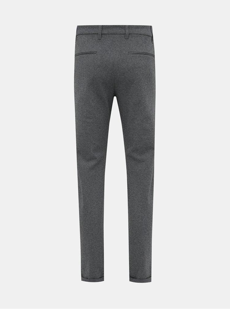 Šedé slim fit kalhoty Lindbergh