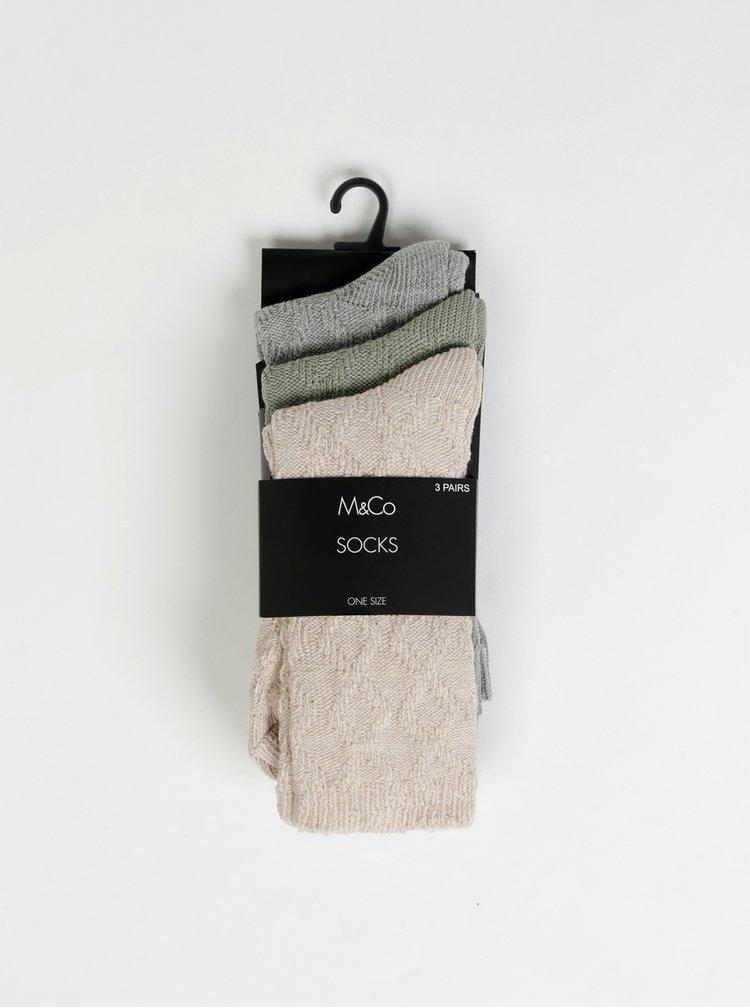 Sada tří párů ponožek v béžové, zelené a šedé barvě M&Co