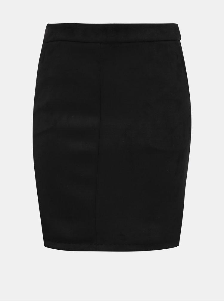 Černá pouzdrová sukně v semišové úpravě VILA Faddy