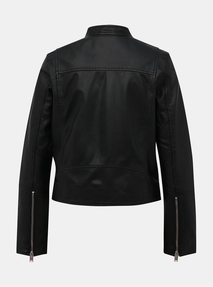 Černá kožená bunda Selected Femme Mascha