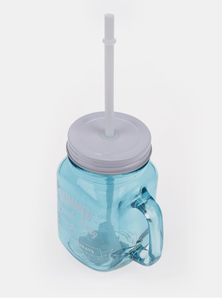 Modrý skleněný hrnek s brčkem Dakls