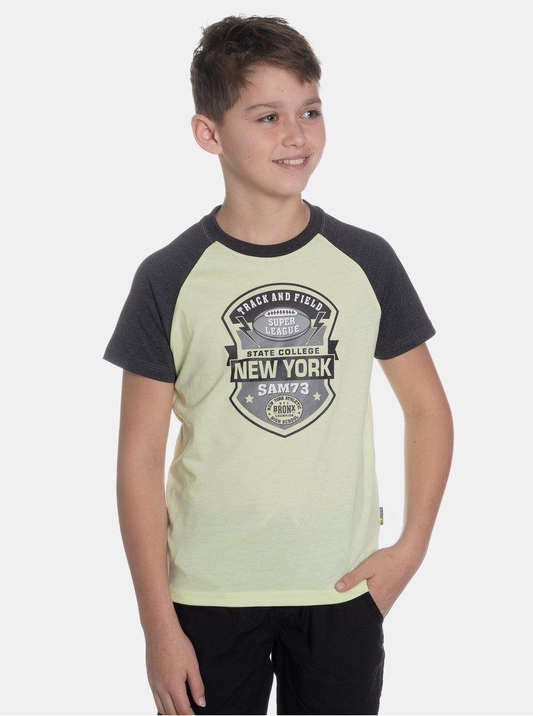 Světle zelené klučičí tričko s potiskem SAM 73