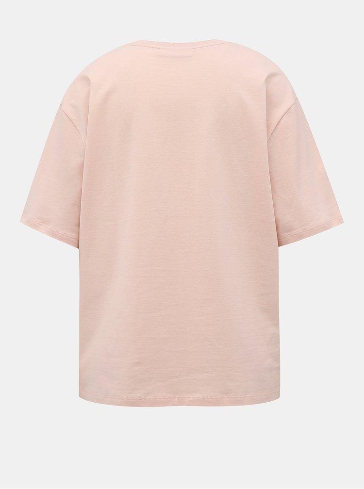 Světle růžové dámské basic tričko Lacoste