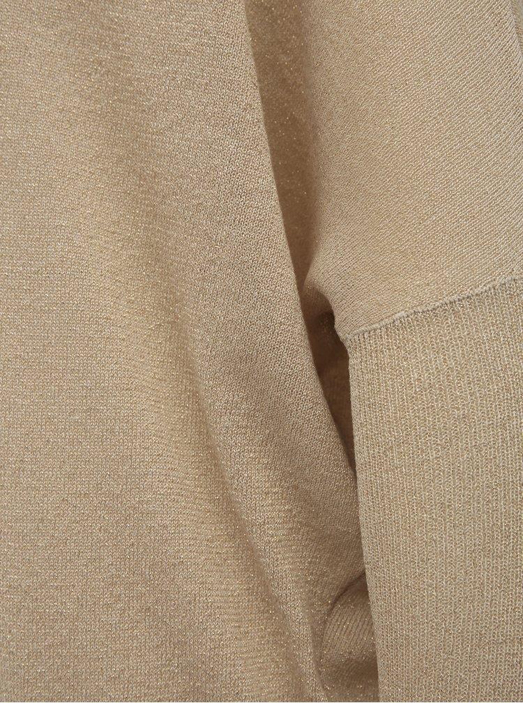Béžové třpytivé svetrové šaty ONLY Skylar