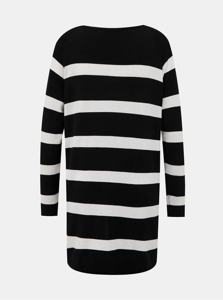 Bielo-čierny pruhovaný basic sveter ONLY Selena