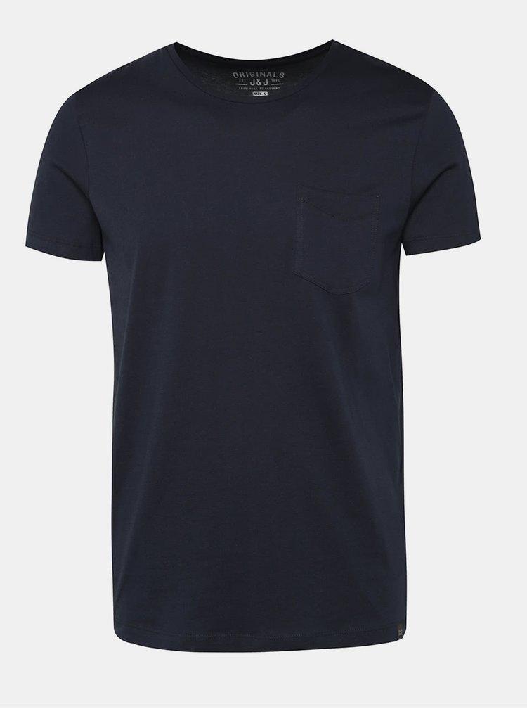 Tmavomodré tričko s vreckom Jack & Jones Ari