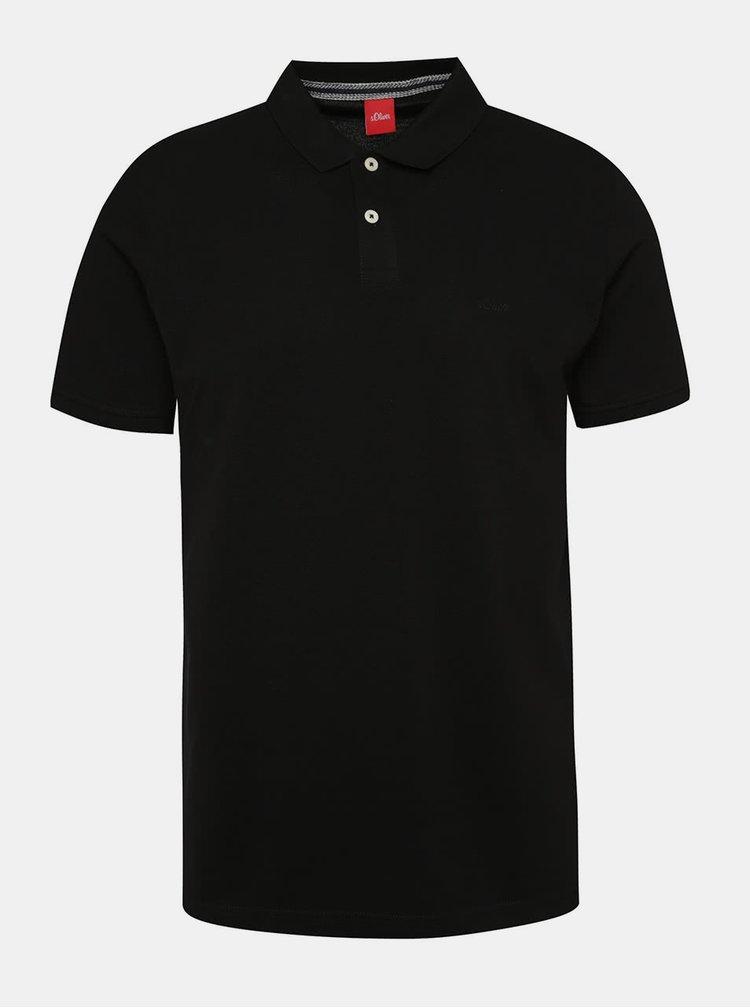 Tricou polo negru s.Oliver cu slituri laterale