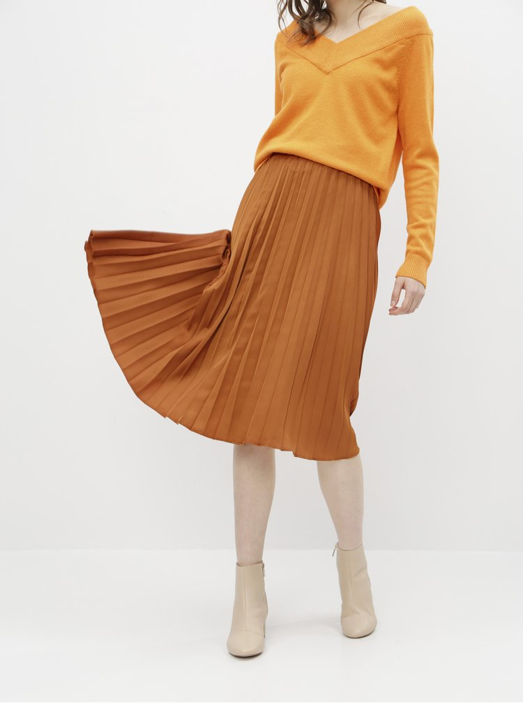 Hnědá plisovaná midi sukně ZOOT Kate