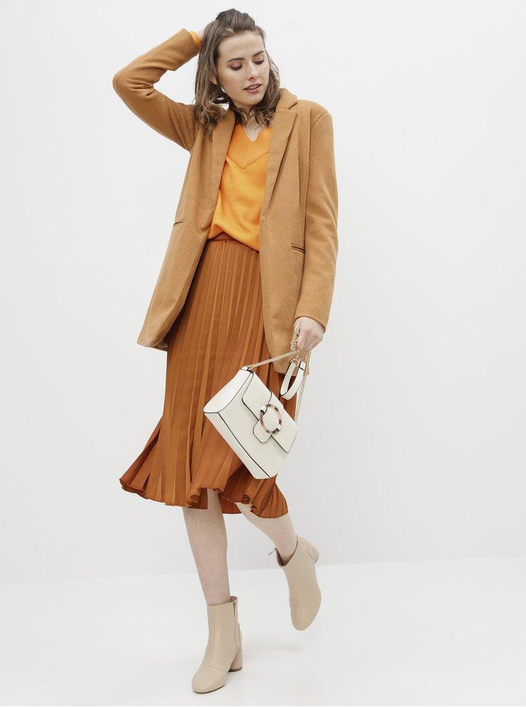 Hnedá plisovaná midi sukňa ZOOT Kate