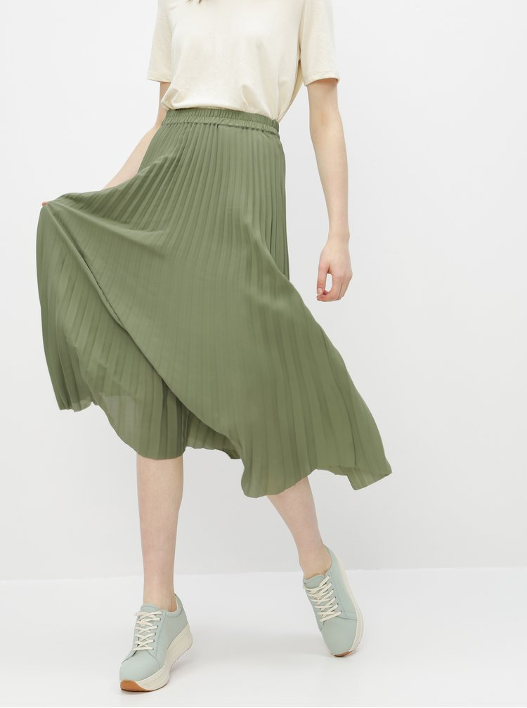Zelená plisovaná sukně Selected Femme Josie