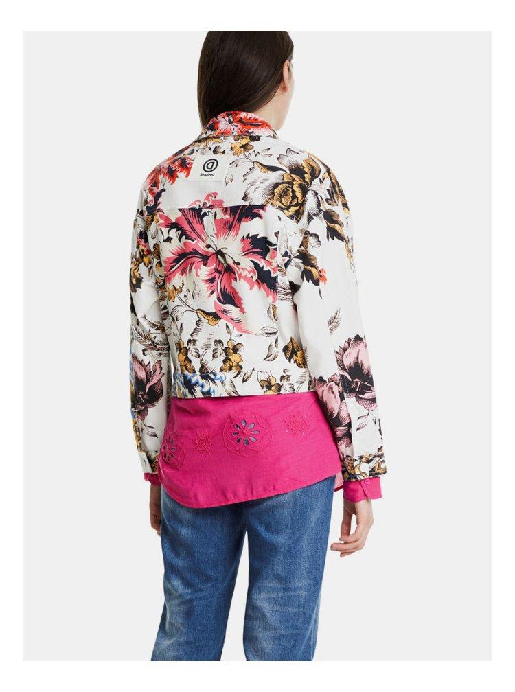 Bílá květovaná džínová bunda Desigual Fantasy