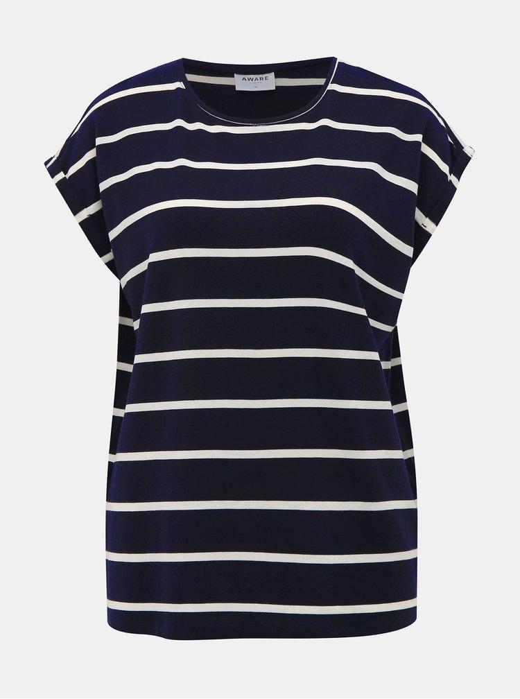 Tmavě modré pruhované basic tričko AWARE by VERO MODA Ava