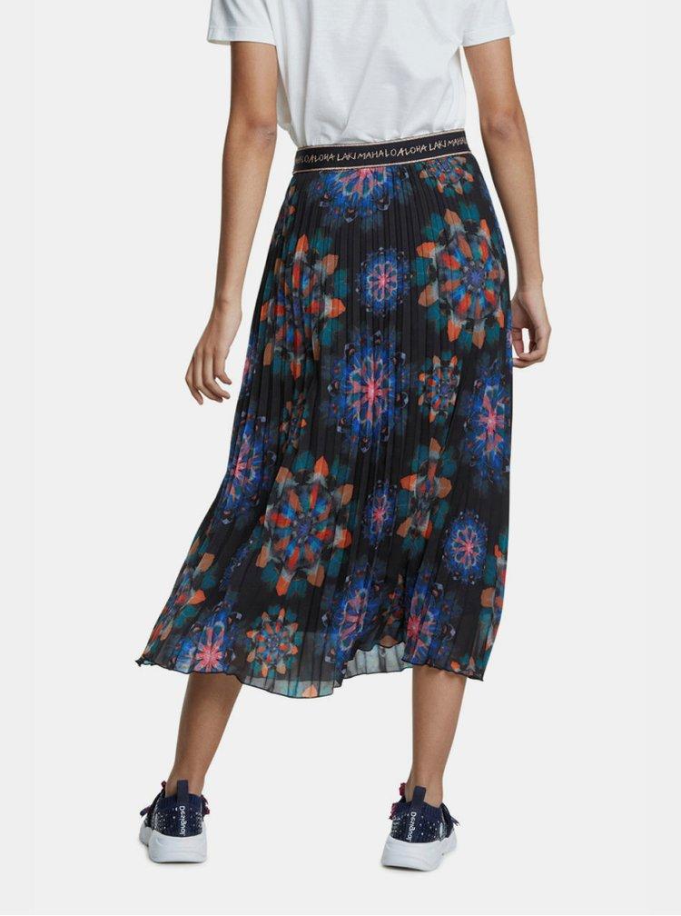 Černá vzorovaná plisovaná midi sukně Desigual Delos