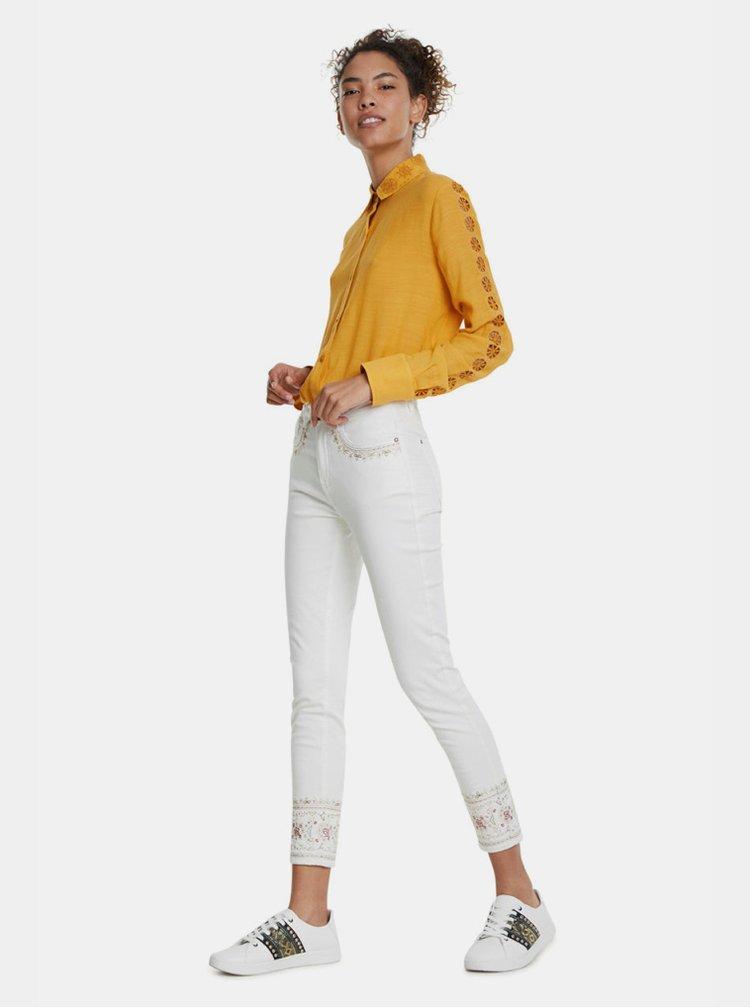 Bílé zkrácené skinny fit džíny s výšivkou Desigual India