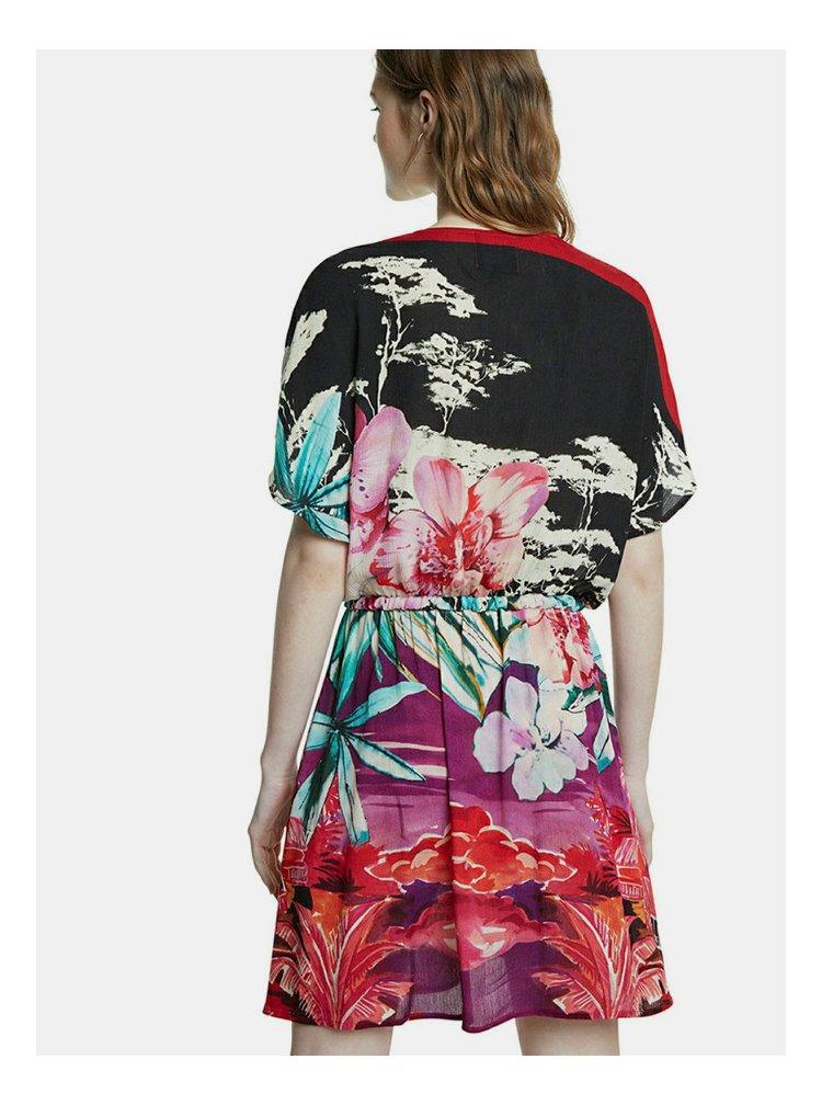 Černo-červené vzorované šaty Desigual Marlen