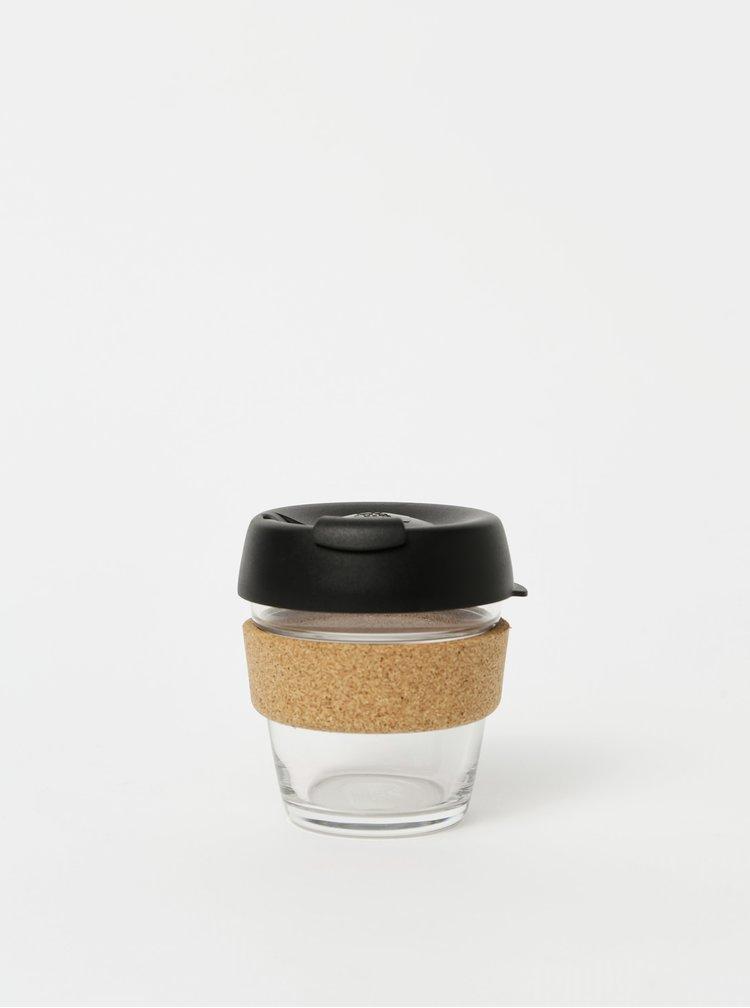 Černý skleněný cestovní hrnek KeepCup Brew Cork small 177 ml