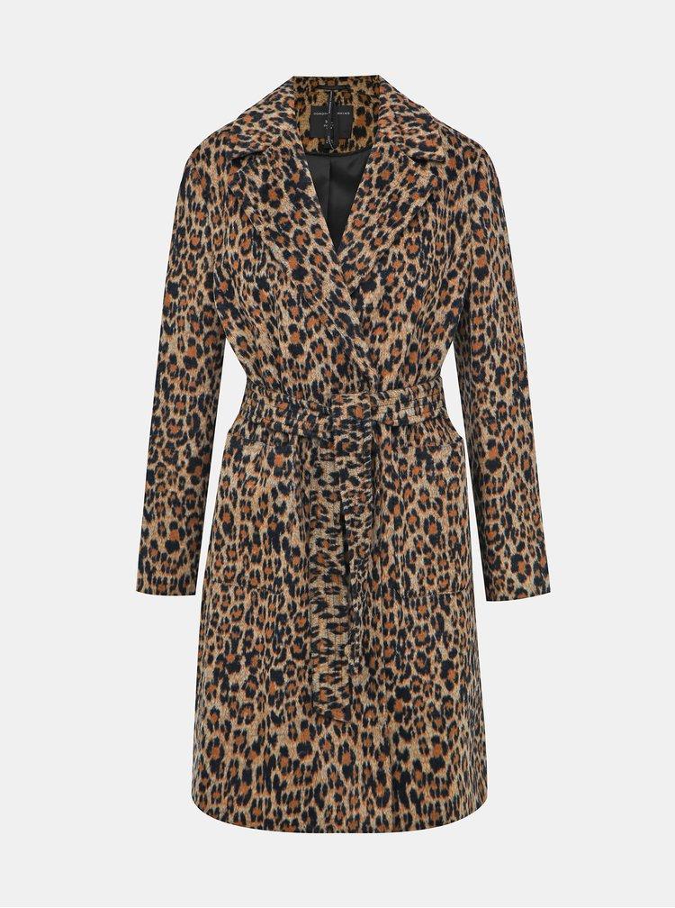 Hnědý kabát s leopardím vzorem Dorothy Perkins