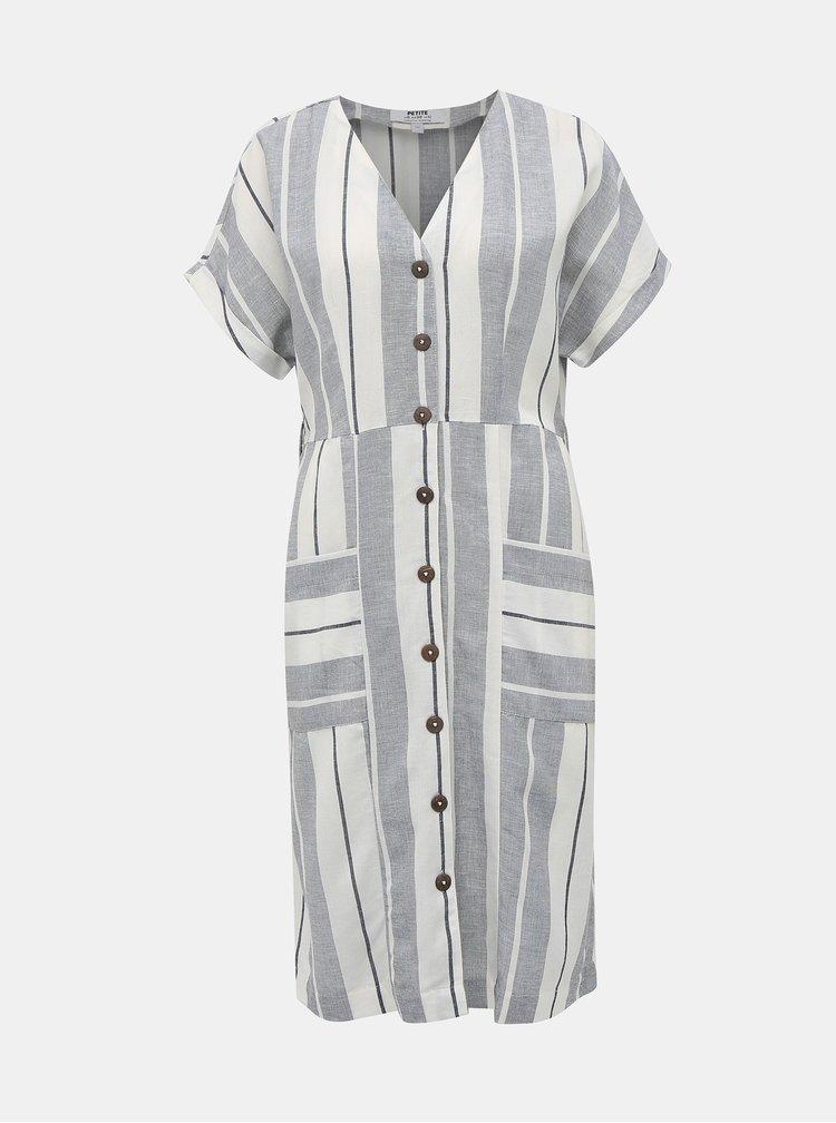 Krémovo-šedé pruhované šaty s příměsí lnu Dorothy Perkins Petite