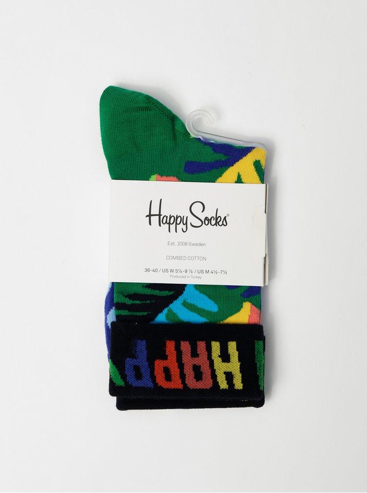 Modro-zelené dámské vzorované ponožky Happy Socks Big Leaf