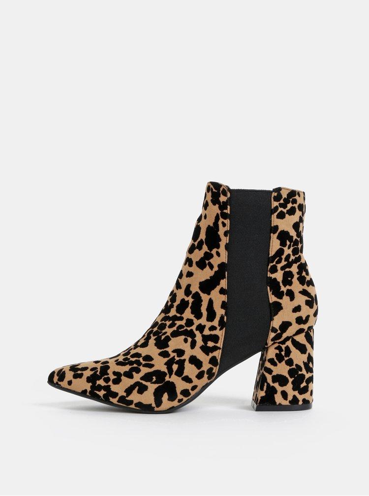 Hnedé členkové topánky s gepardím vzorom Dorothy Perkins