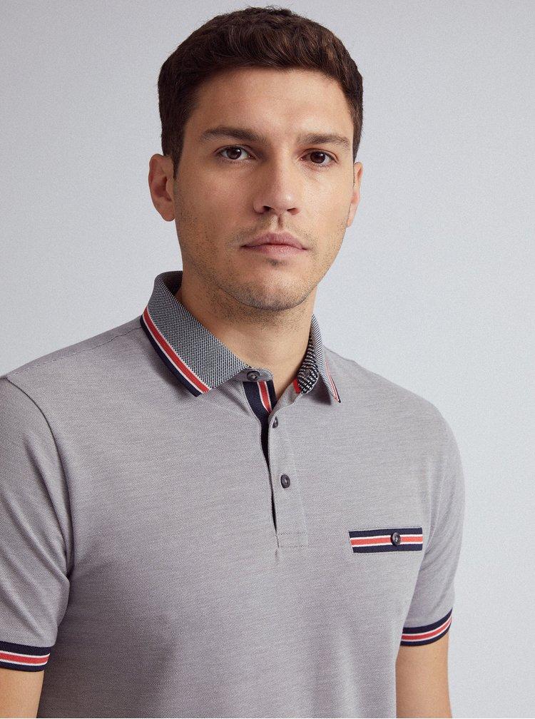 Šedé polo tričko Burton Menswear London