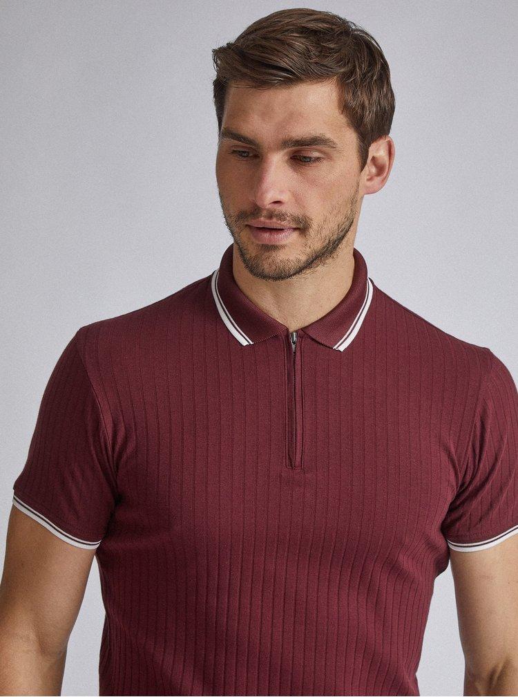 Vínové žebrované polo tričko Burton Menswear London