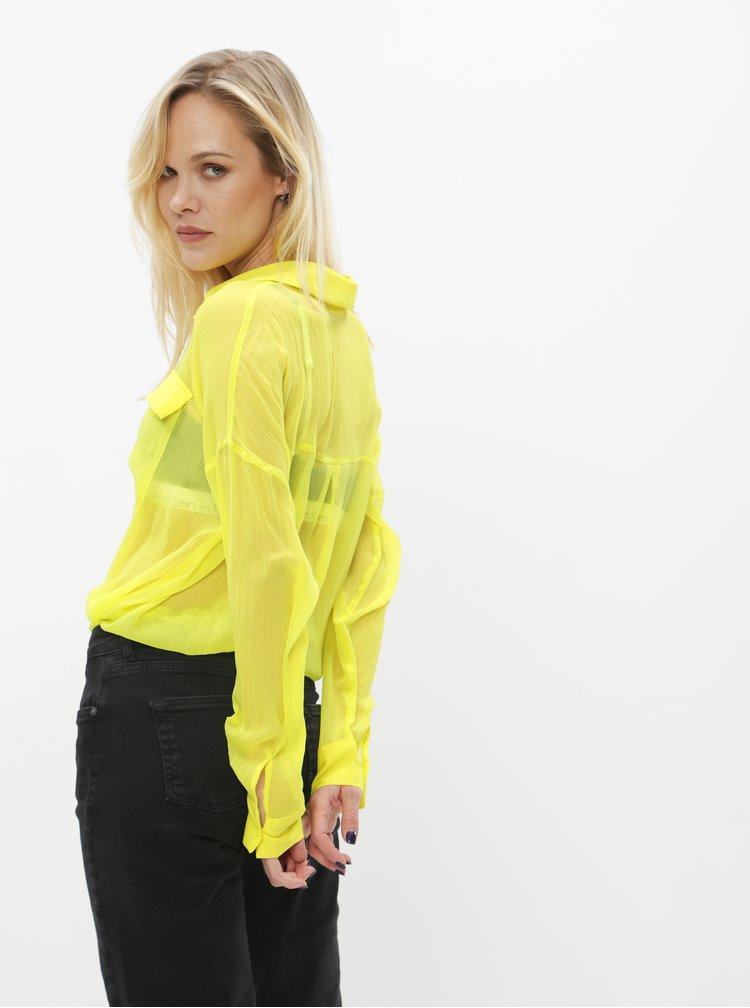 Neonově žlutá průsvitná košile Noisy May Neno
