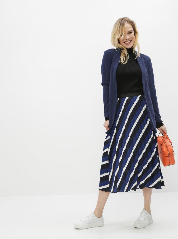 Tmavomodrá pruhovaná plisovaná sukňa ONLY Agnes