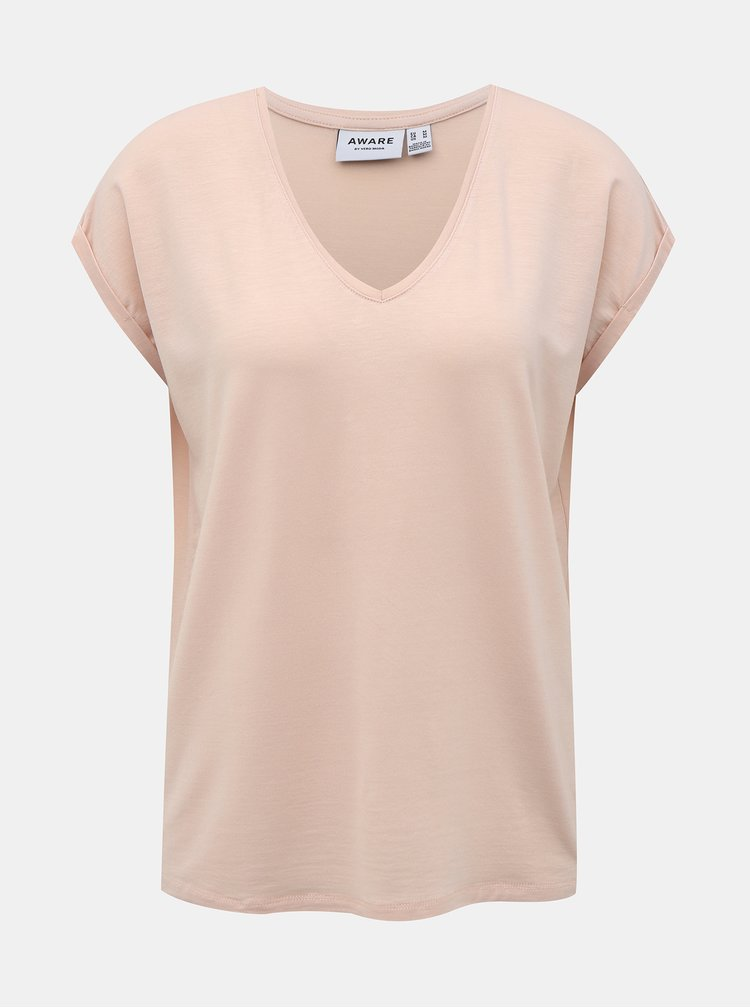 Světle růžové tričko AWARE by VERO MODA