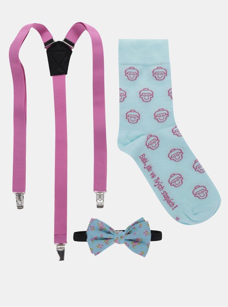 """""""Dobrá"""" súprava ponožiek, motýlika a trakov v modrej a ružovej farbe pre Krásu pomoci"""